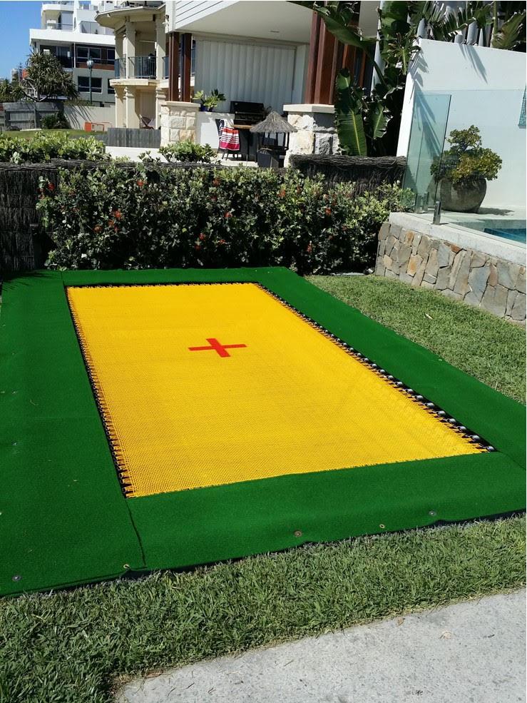 Pool side, inground trampolines